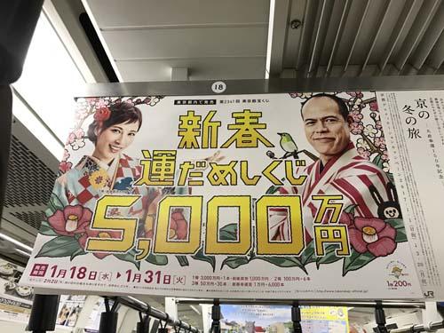 gooブログ 1月21日(土)のつぶやき:加藤あい 田中要次 新春運だめしくじ5,000万円(電車中吊広告)
