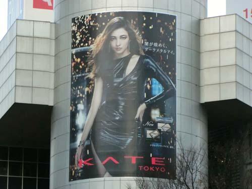 gooブログ 1月24日(火)のつぶやき:黒木メイサ 闇が煌めく、ダークメタルアイ。KATE TOKYO(渋谷109シリンダー広告)